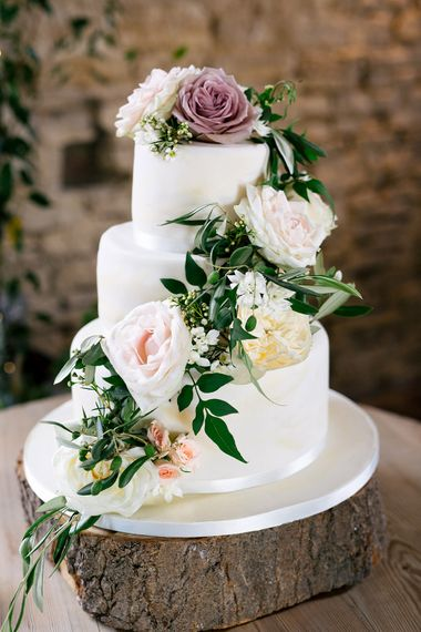 Traditional Three Tier Ice Wedding Cake with Flower Decor |  | Rustic Greenery Wedding at Cripps Barn Cotswolds | Wedding_M Photography