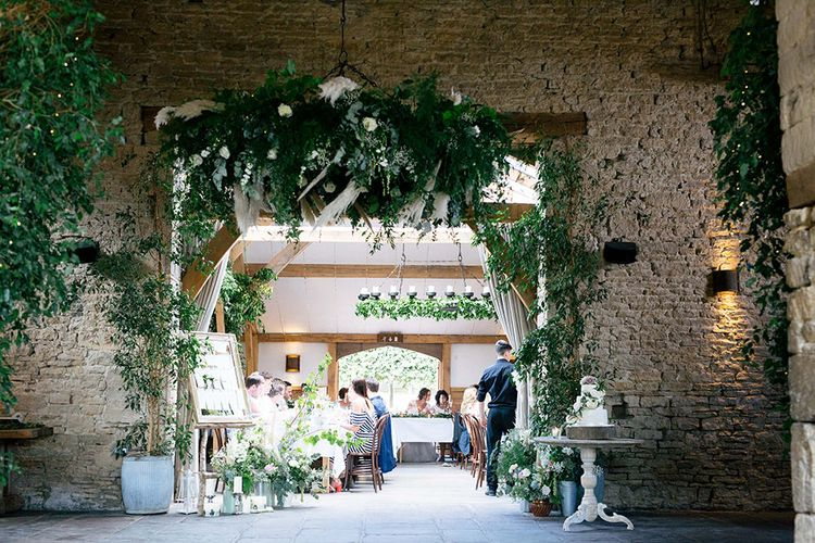 Greenery Cover Wedding Reception Decor |  | Rustic Greenery Wedding at Cripps Barn Cotswolds | Wedding_M Photography