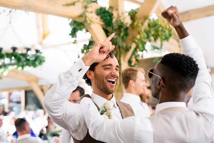 Groom in Waistcoat |  | Rustic Greenery Wedding at Cripps Barn Cotswolds | Wedding_M Photography