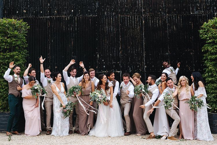 Wedding Party | Bridesmaids in Show Me Your Mum Neutral Dresses | Bride in Antonia Berta Muse Wedding Dress | Groomsmen in Beige Suits | Rustic Greenery Wedding at Cripps Barn Cotswolds | Wedding_M Photography