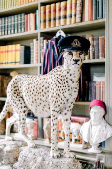 Cheetah Taxidermy at Aynhoe Park Wedding Venue