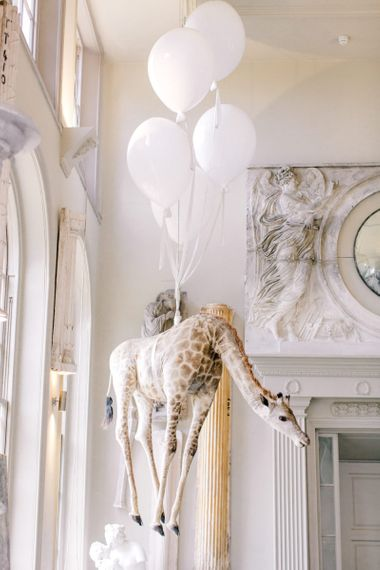 Hanging Giraffe Taxidermy at Aynhoe Park Wedding Venue