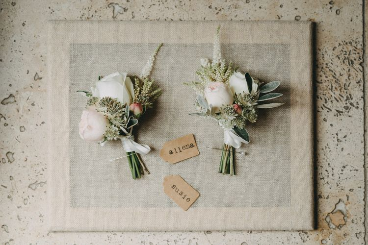 Floral buttonholes for wedding party