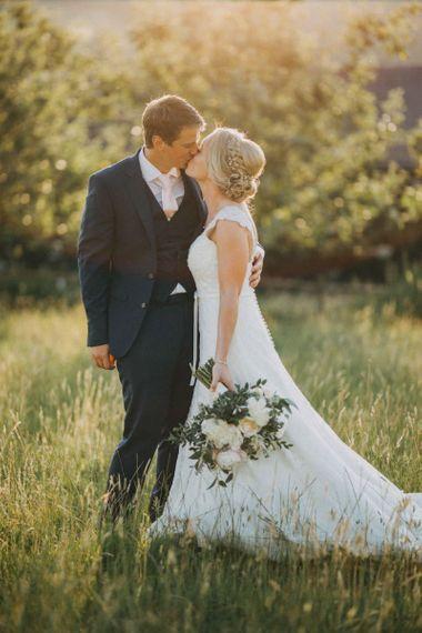Bride and groom at Upwaltham Barns