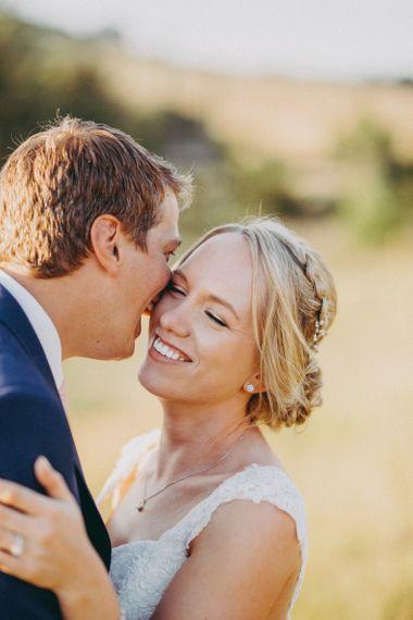 Bride and groom at rustic wedding