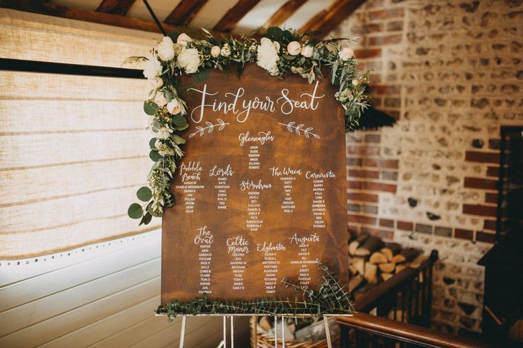 Wooden wedding seating chart