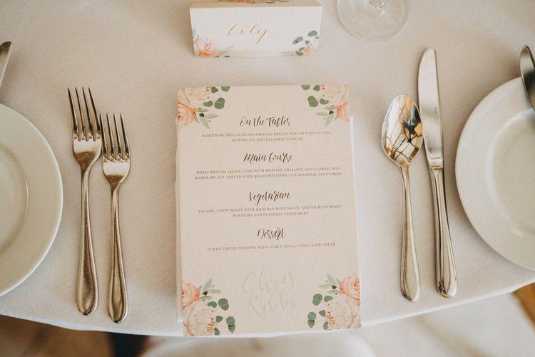Wedding menu at Upwaltham Barns