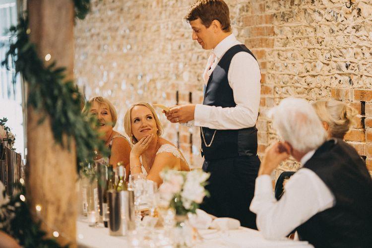 Grooms wedding speeches during wedding breakfast