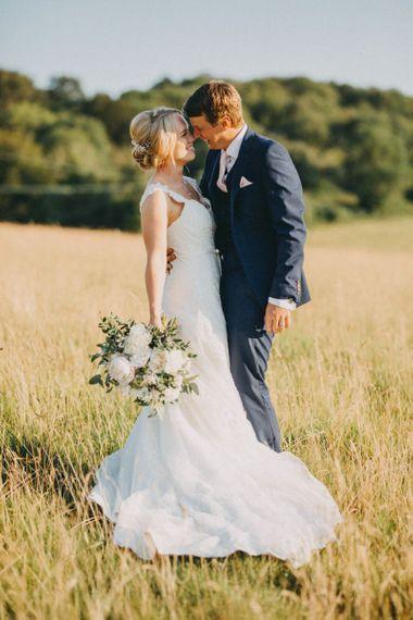 Bride in Maggie Sottero wedding dress