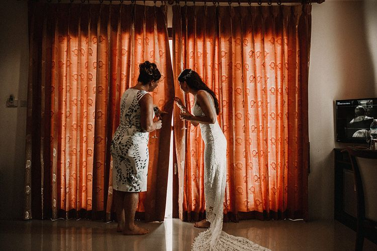 Wedding Morning Bridal Preparations | Bride in Grace Loves Lace Gia Gown | Tropical Destination on the Beach at Nice Sea Resort, Koh Phangan Thailand Planned by Phangan Weddings | Carla Blain Photography