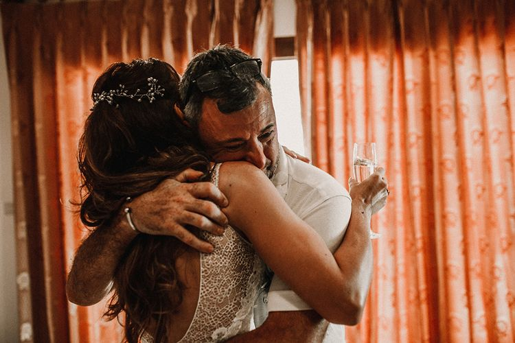 Father of the Bride First Look | Bride in Grace Loves Lace Gia Gown | Tropical Destination on the Beach at Nice Sea Resort, Koh Phangan Thailand Planned by Phangan Weddings | Carla Blain Photography