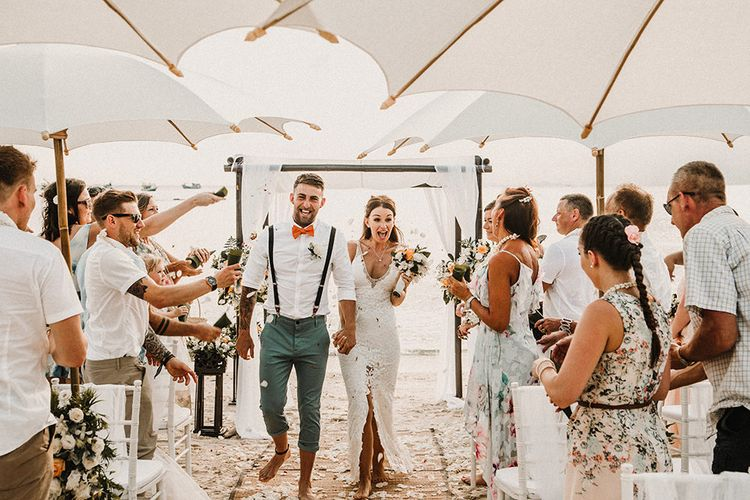Wedding Ceremony | Bride in Grace Loves Lace Gia Gown | Groom in Turned Up Trousers, Bow Tie & Braces from Topman | Tropical Destination on the Beach at Nice Sea Resort, Koh Phangan Thailand Planned by Phangan Weddings | Carla Blain Photography