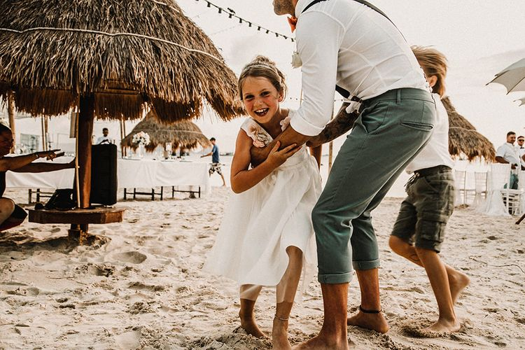 Flower Girl & Groom | Bride in Grace Loves Lace Gia Gown | Groom in Turned Up Trousers, Bow Tie & Braces from Topman | Tropical Destination on the Beach at Nice Sea Resort, Koh Phangan Thailand Planned by Phangan Weddings | Carla Blain Photography