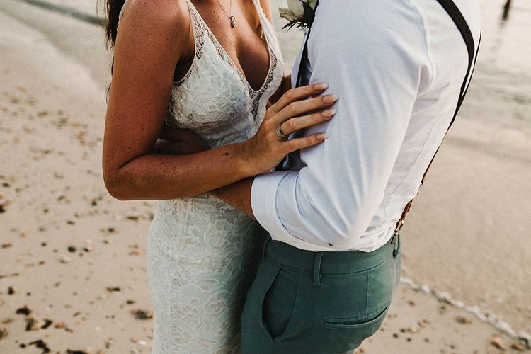 Couple Portrait | Bride in Grace Loves Lace Gia Gown | Groom in Turned Up Trousers, Bow Tie & Braces from Topman | Tropical Destination on the Beach at Nice Sea Resort, Koh Phangan Thailand Planned by Phangan Weddings | Carla Blain Photography