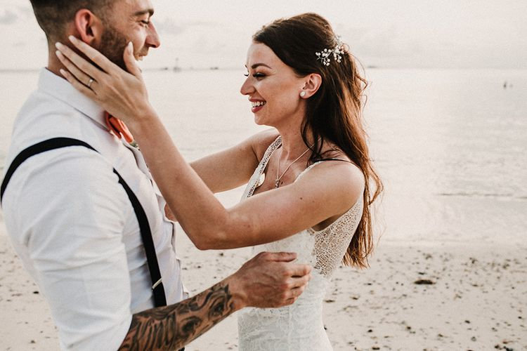 Couple Portrait | Bride in Grace Loves Lace Gia Wedding Dress | Groomsmen in Turned Up Trousers, Bow Ties & Braces from Topman | Tropical Destination on the Beach at Nice Sea Resort, Koh Phangan Thailand Planned by Phangan Weddings | Carla Blain Photography