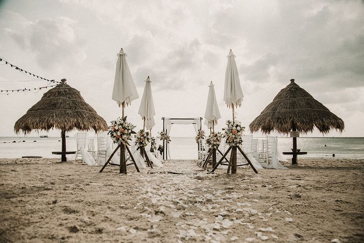 Grace Loves Lace Gia Gown for a Tropical Destination on the Beach at Nice Sea Resort, Koh Phangan Thailand Planned by Phangan Weddings | Fairy Light Reception | Peach Flowers | Carla Blain Photography