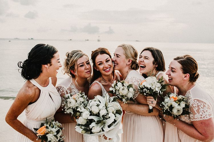 Bridal Party | Bridesmaids in Peach Gowns | Bride in Grace Loves Lace Gia Wedding Dress | Tropical Destination on the Beach at Nice Sea Resort, Koh Phangan Thailand Planned by Phangan Weddings | Carla Blain Photography