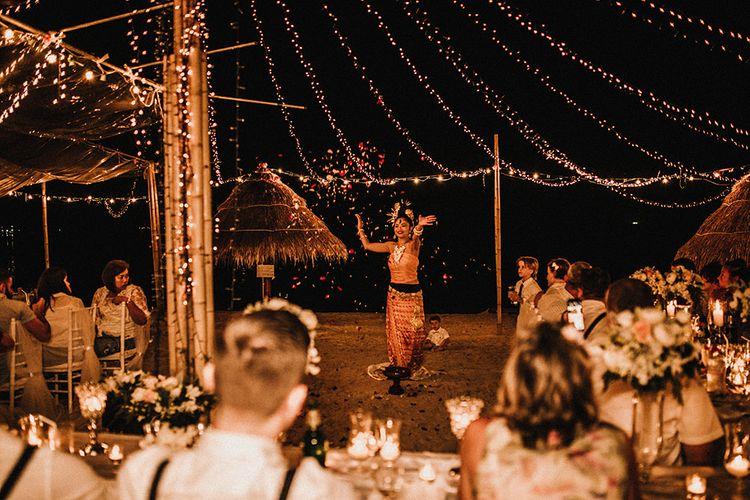 Outdoor Reception | Fairy Light Canopy | Wedding Entertainment | Tropical Destination on the Beach at Nice Sea Resort, Koh Phangan Thailand Planned by Phangan Weddings | Carla Blain Photography