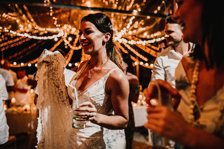 Bride in Grace Loves Lace Gia Wedding Dress | Tropical Destination on the Beach at Nice Sea Resort, Koh Phangan Thailand Planned by Phangan Weddings | Carla Blain Photography