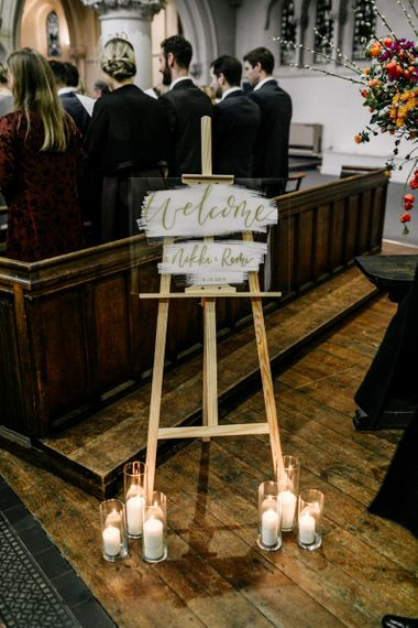Acrylic Wedding Welcome Sign with Gold Font
