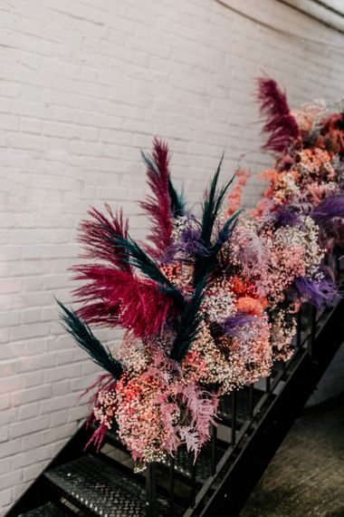 Pink Gypsophila and Pampas Grass Floral Arrangement