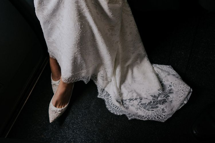 LK Bennett Bride Shoes With Lace Detail