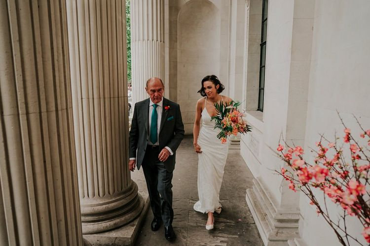 Bride and Father Of Bride On Way To Ceremony in London