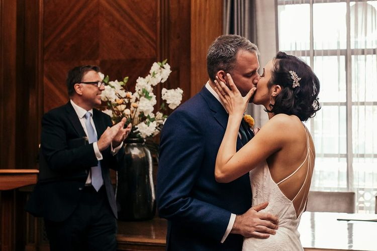 Bride and Groom During London Ceremony At Old Marylebone Town Hall