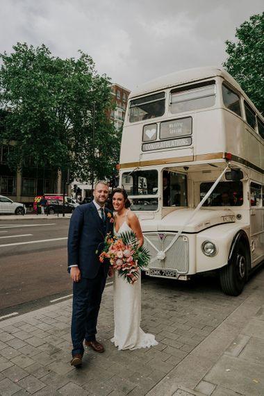 Cream Vintage Bus Wedding Transport