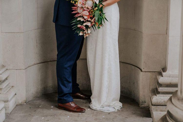 Orange Wedding Flowers Bouquet For London City Wedding