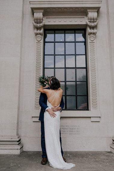 Low Back Crossover Strap Charlie Brear Wedding Dress