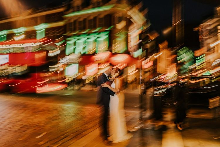 Busy London Portrait With Bride and Groom