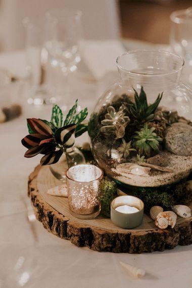 Wedding Table Decor On Tree Slice