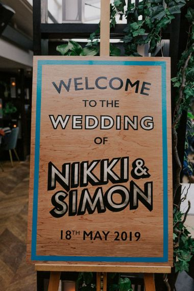 Wooden Wedding Welcome Sign For Soho Wedding Reception