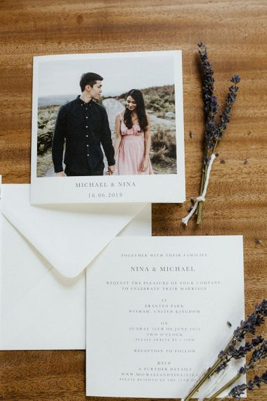 Wedding stationery  with lavender spriggs