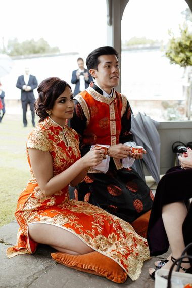 Chinese tea ceremony at fusion wedding