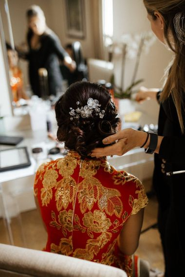 Bridal hair up inspiration before outfit change to Indian wedding dress