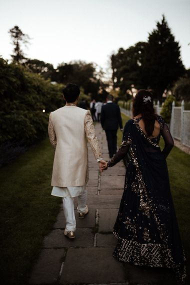Navy Indian wedding dress for bride and groom