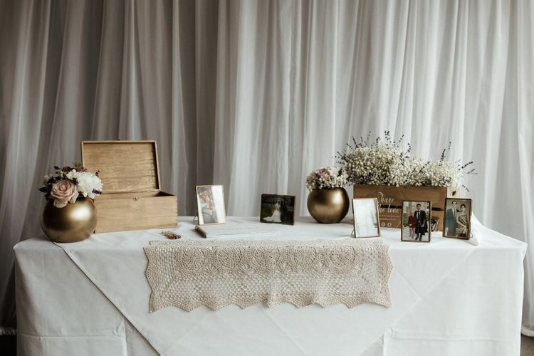 Card table for fusion wedding with Indian wedding dress
