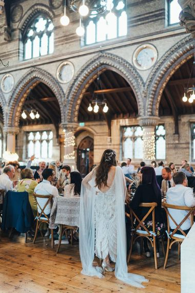 St Stephens Trust wedding reception with long tables and sharing food