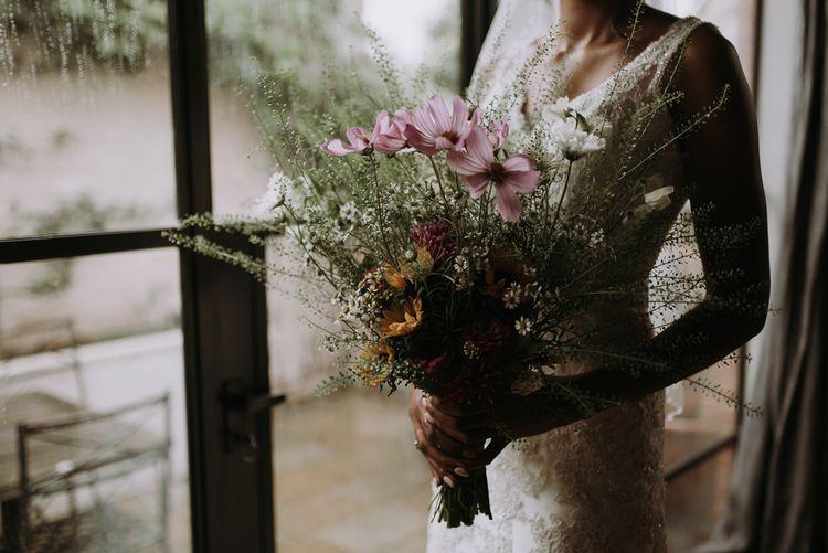 Wildflower 'just picked' wedding bouquet for home garden wedding