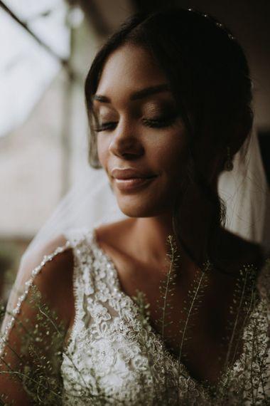Natural bridal makeup  for black bride using home garden for wedding celebration
