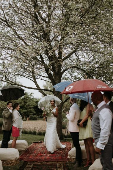 Bridal entrance at home garden wedding ceremony