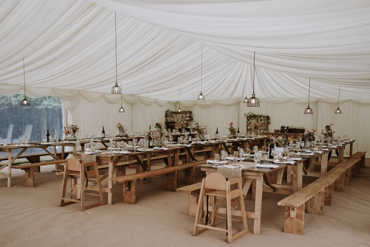 home garden for wedding celebration with marquee reception