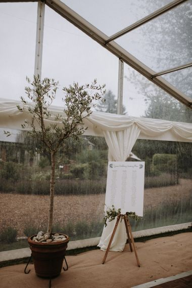 Table plan on an easel at home garden for wedding celebration