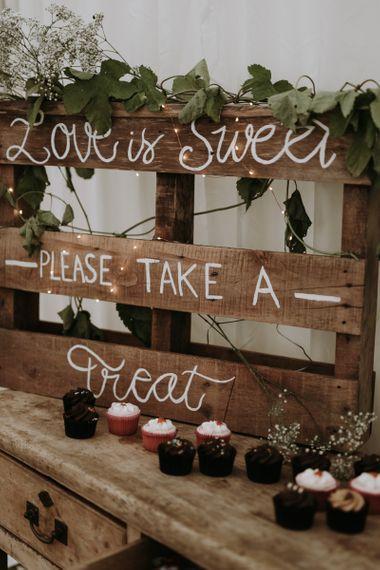 Wooden pallet wedding dessert table wedding sign
