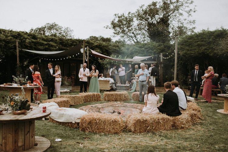 fire pit in garden for wedding celebration