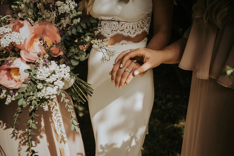 Florals by The Rose Hip and Berry // Bridal Separates // Blush Pink Boho Barn Vibes With Bride in Rime Arodaky From The White Gallery. Outdoor ceremony at Larchfield Estate in Northern Ireland. Photography by Ten Twenty One.