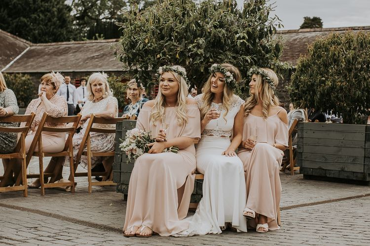 Blush Pink Boho Barn Vibes With Bride in Rime Arodaky From The White Gallery. Outdoor ceremony at Larchfield Estate in Northern Ireland. Photography by Ten Twenty One.