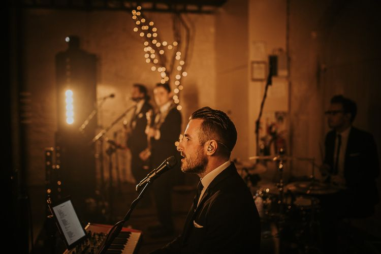 Entertainment by The Gents // Blush Pink Boho Barn Vibes With Bride in Rime Arodaky From The White Gallery. Outdoor ceremony at Larchfield Estate in Northern Ireland. Photography by Ten Twenty One.